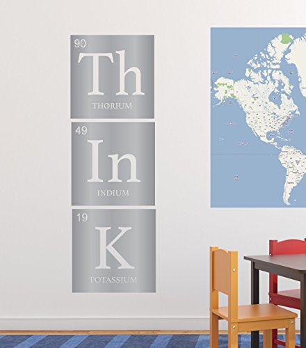 Periodic Table Lab - Chemistry Wall Decal - Think - Vertical Periodic Table Decoration - Removable Vinyl Decor For Classroom, Child's or Adult's Bedroom, Playroom or Study Area