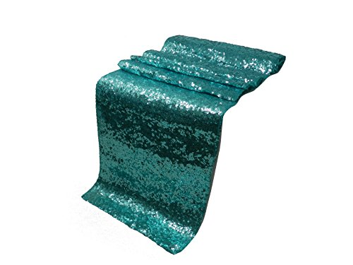 ELINA'S Pack OF1 Wedding 13 x 108 inch Sequin Table Runner Wedding Banquet Decoration (1, Turquoise) (Turquoise Wedding Centerpieces And Silver)