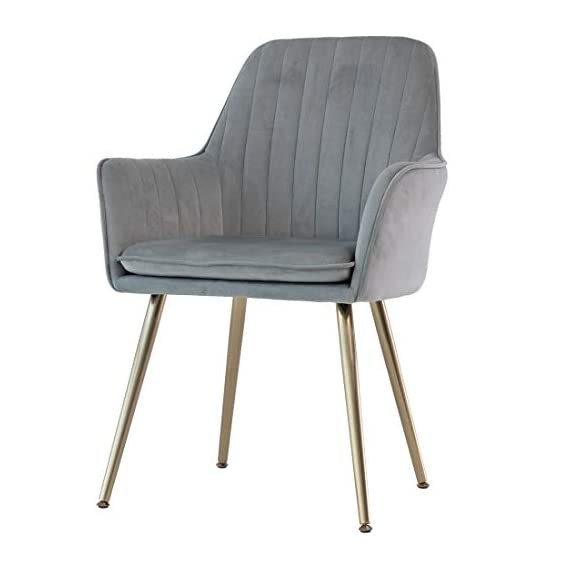 GOLDEN BEACH Velvet Dinning Chair Set of 1 Mid-Back Accent Chair Modern Leisure Armchair with Gold Plating Legs Upholstered Living Room Chair (Gray) - Soft Velvet Upholstery:Skin-friendly fabric design,elegant and delicate decoration in living room,dinning room and guest room. Ergonomic Design:Ergonomic design mid-back fits your back curve perfectly,soft back cushion support helps to relieve back tightness,comfy for long time seating. Sturdy Structure: Metal frame internal the dinning chair matches the high density foam add the steady of the whole chair.Weight capacity hold up to 250lbs. - living-room-furniture, living-room, accent-chairs - 41At%2Bj0J1ZL. SS570  -