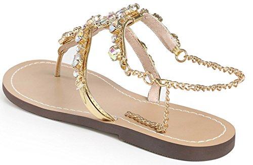 Golden Bohemia Sandals Bling Summer Beach Charming for Women Sandals Huateng for Rhinestone Sandals Flat 4nv86O