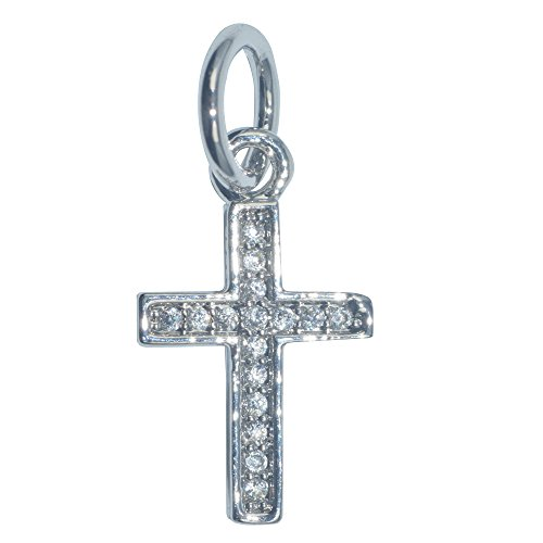 Cross Plated Silver Charms - DongStar Fashion Jewelry, Cubic Zirconia Crystal Dainty Cross Design Silver Plated Bracelet Pendant Charm
