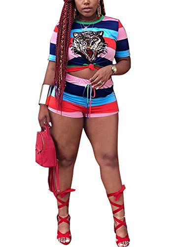 Womens Girls Summer Two Pieces Outfits Tiger Head Embroidery Rainbow Stripe Printed Knotted Tees Top Shirts + Shorts Pants Bandage Club Dress Sportsuit L ()