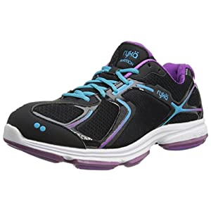 RYKA Women's Devotion Walking Shoe,Black/Dark Purple/Light Blue,8.5 M US