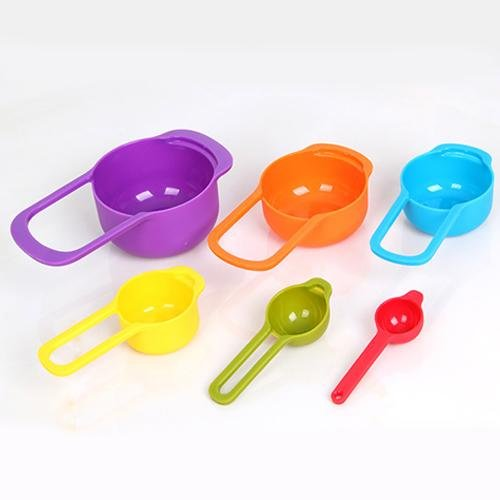 New Cute 6pcs Nested Measuring Cup Spoons Set Multi Colorful Baking Cooking Kitchen Tool Good Quality