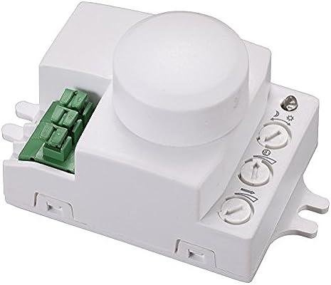 Microondas de detector de movimiento HF Interruptor crepuscular para pared y el techo de montaje 360 °, alcance 1 – 6 m bemko