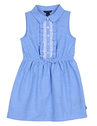 Mommy And Me Easter Dresses (Nautica Girls' Solid Sleevless Fashion Dress faux blue ,S7,Big)