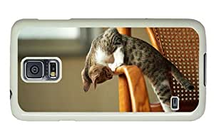 Hipster Samsung Galaxy S5 Case carrying cover cute cat chair PC White for Samsung S5