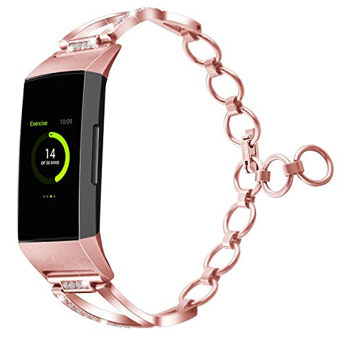 YiJYi Compatible with Charge 3 Bands for Women,Replacement Metal Bling Stainless Steel Band Accessories Dressy Wristband Bracelet for Charge 3 & Charge 3 SE(Rose Gold-M/L(6.3-8.1))