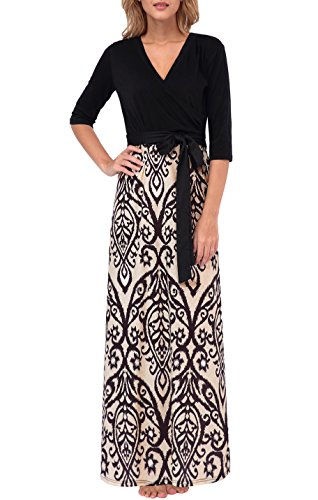 3813e0a05cc Zattcas Womens Floral Print V Neck 3 4 Sleeve Maxi Dress Long (Large ...