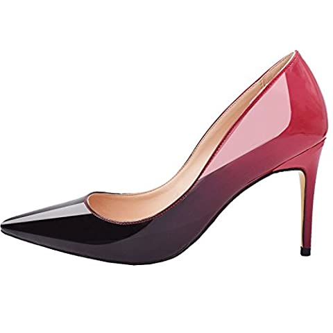 Lovirs Womens Red-black Office Basic Slip on Pumps Stiletto Mid-heel Pointy Toe Shoes for Party Dress 9 M - Office Basics