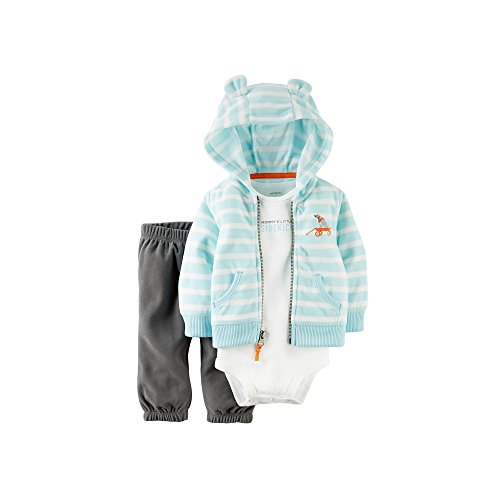 3 Piece Cardigan Set , Light Blue/Dark Heather Grey, 24 Months (Carters Toddler Boys Pull)
