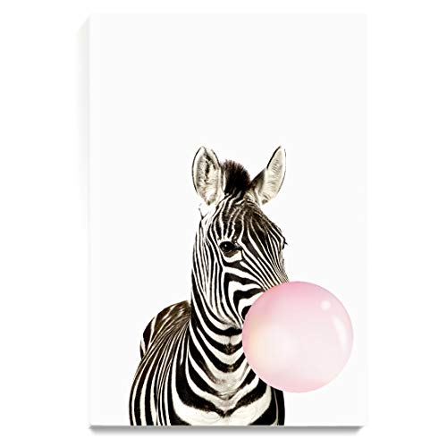 (CJ Studio Wall Art Paintings Zebra Blowing Bubble Gum for Bedroom Living Room Dinning Room Decor,Stretched and Ready to Hang, 16
