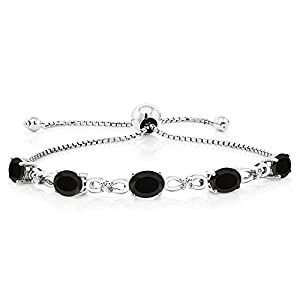925 Sterling Silver Adjustable Diamond Tennis Bracelet 4.00 ct Oval Black Onyx
