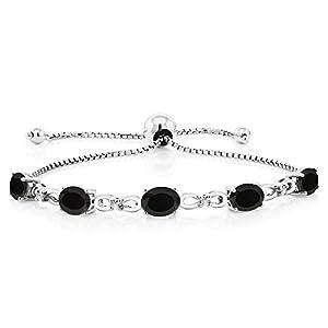 925 Sterling Silver Adjustable Diamond Tennis Bracelet 4.00 ct Oval Black Onyx