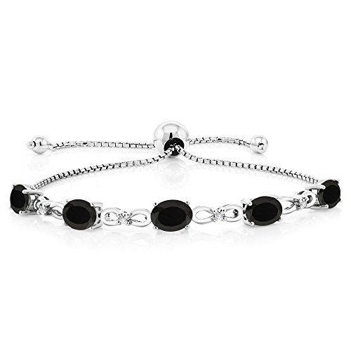 Gem Stone King 925 Sterling Silver Black Onyx and Diamond Adjustable Tennis Bracelet, 4.00 Ctw, 7X5MM Oval Gemstone