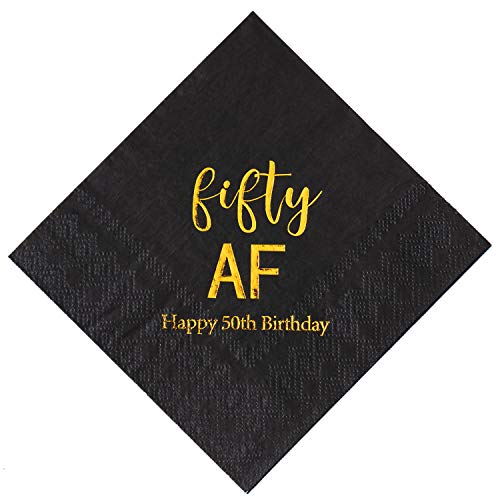 Crisky 50th Birthday Napkins Black Gold Fifty AF 50th Birthday Cocktail Napkins Beverage Napkins 50th Birthday Party Candy Table Decoration, 100 Count, 3-Ply]()
