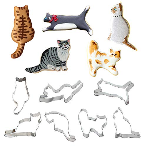 7 Pcs Cat Cookie Cutter Set, Cozy Cat, Sitting Cat, Running Cat, Playful Cat, Kitten and Curled Cat Shape Fondant Cakes Cutters - in Durable Stainless Steel -