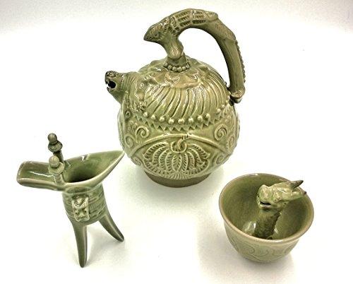 Chinese Ancient Magic Bottom-Filling Porcelain Teapot Set (Antique-Imitation Blue Glazed )