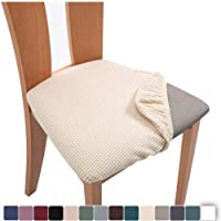 ALESWEAR 2PCS Stretch Spandex Jacquard Dining Room Chair Seat Covers, Removable Washable Anti-dust Dinning Chair Seat…