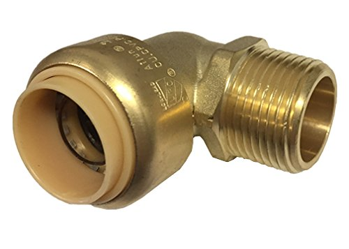 Libra Supply Lead Free 3/4 inch 90 Degree Push-Fit Male Elbow, MIP x Push, (Click in for more size options), 3/4'', 3/4-inch Brass Pipe Fitting Plumbing Supply