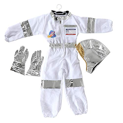 Children's Astronaut Costume Dress up Role Play Set for Kids Boys Girls with a Free America Flag -