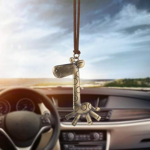 FBXSBHG Car Pendant Cute Bronze Giraffe Hanging Jewelry car Rearview Mirror Hanging Decoration Accessories car and Motorcycle car Gift Decoration