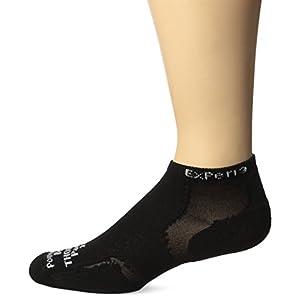 Thorlo Men's Experia CoolMax Mini Crew Sock, Black/Black, Large