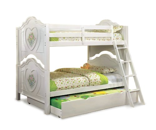 Furniture of America Genevie Twin Over Twin Floral and Heart Bunk Bed, White For Sale