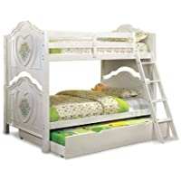 Furniture of America Genevie Twin Over Twin Floral and Heart Bunk Bed, White