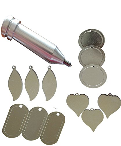 Engraving Tool for the Cricut MAKER and EXPLORE by Chomas Creations and 12 Stamping Blanks: Round, Heart,Leaf and Dog Tags (13 pieces) by Big Dream Arts and Parties