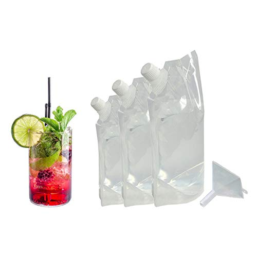 Malibu Rum Drink - Hide Your Booze Flask and Funnel Kit Set - 8 oz Flask, 16 oz. Flask, 32 oz. Flask and Funnel - Secret Liquor Wine Cruise Travel Clear Hidden Flask Pouch