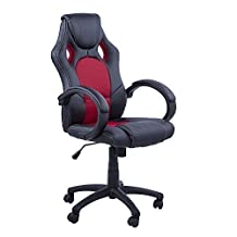 HomCom A2-0086 Racecar Styled High Back Leather Executive Computer Home Office Desk Swivel Chair