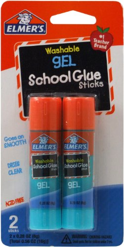 Elmer's Washable Gel School Glue Sticks, 0.28 oz Each, 2 Sticks per Pack ()
