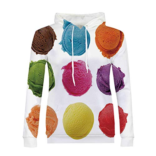 Ice Cream Decor Stylish Hoodies,Ice Cream Toppings with Colorful Various Flavor Yummy Sweet Summer Image for Girls,M