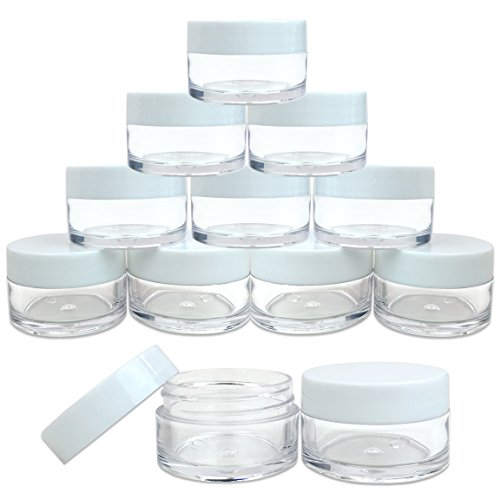 Beauticom 20 gram/20ml Empty Clear Small Round Travel Container Jar Pots with Lids for Make Up Powder, Eyeshadow Pigments, Lotion, Creams, Lip Balm, Lip Gloss, Samples (12 Pieces, White)