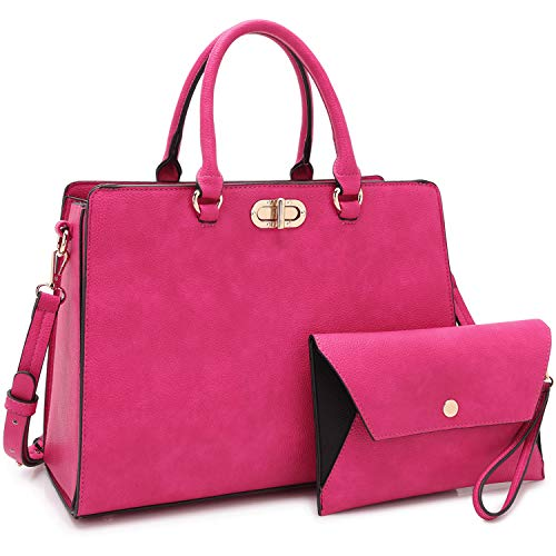 Dasein Women Handbags Fashion Satchel Purses Top Handle Tote Work Bags Shoulder Bags with Matching Clutch 2pcs Set