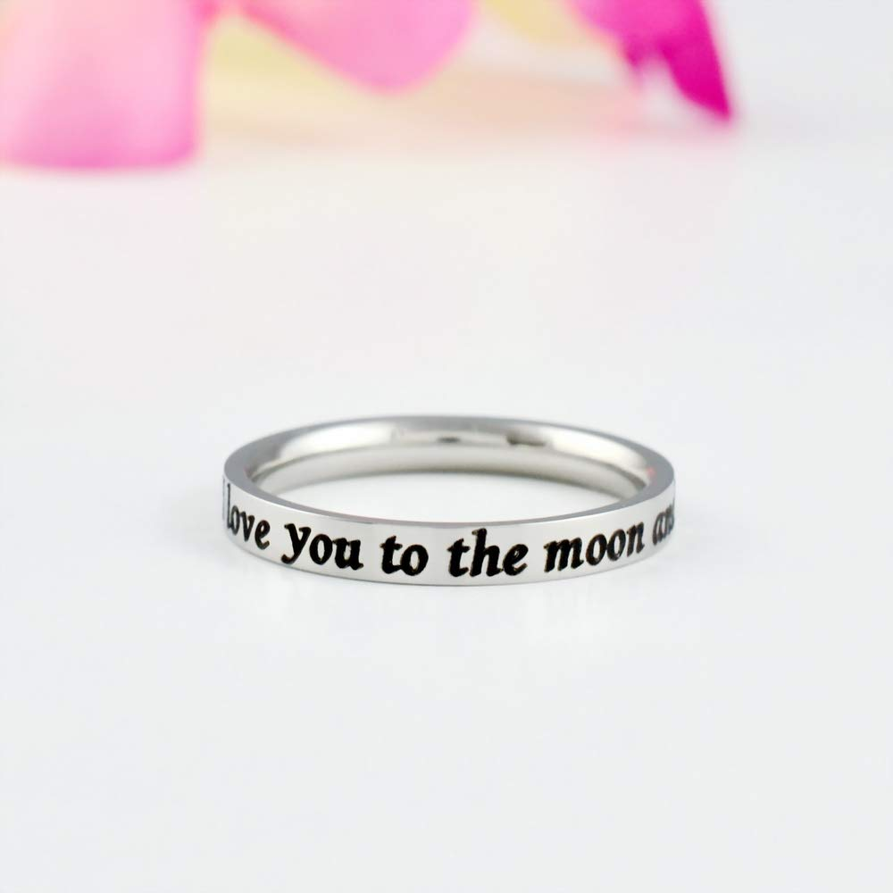 Dainty Stainless Steel Stacking Band Ring Mom Daughter Sisters Best Friends BFF Mothers Day Grandma Wife Girlfriend Forever Love Friendship I love you to the moon and back