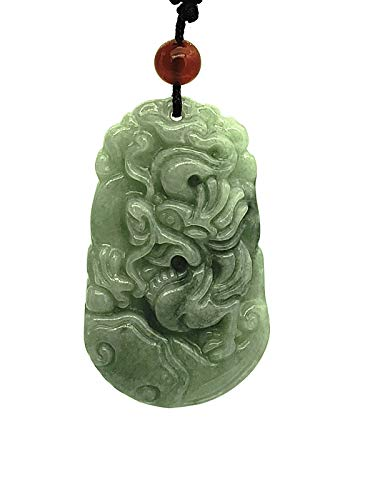 Betterdecor Feng Shui Hand Carved Chinese 12 Zodiac Necklace Pendant (Including Logo Gift Pouch) (Dragon)