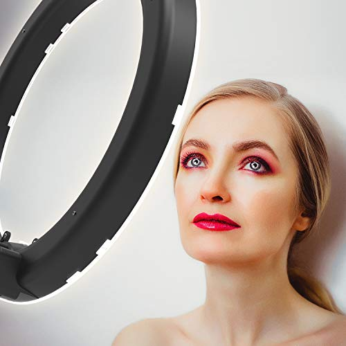 PIXEL 19 Inch Ring Light with Stand, 55W MultiTemp 3000-5800K Dimmable Circle LED Lighting for Selfie Makeup Videos, Built-in 2.4G Receiver w/UL Listed AC Adapter (No Carrying Bag, No Remote Control) by PIXEL (Image #5)