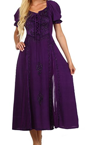 Sakkas 2100 - Sakkas Bridget Embroidered Renaissance Dress - Purple - 3X/4X