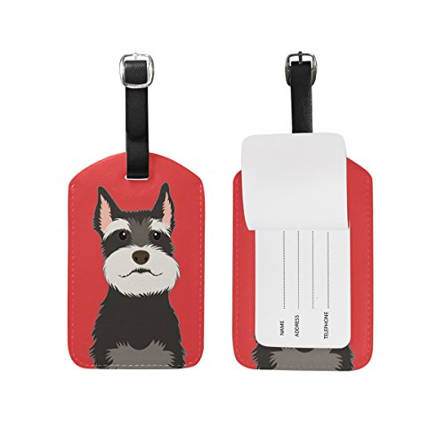 My Daily Schnauzer Dog Luggage Tag PU Leather Bag Tag Travel Suitcases...