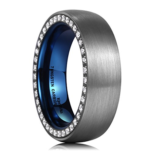 King Will EDGE 7mm Dome Brushed Blue Tungsten Carbide Ring Cubic Zirconia Inlay Infeed Wedding Band Comfort Fit 11
