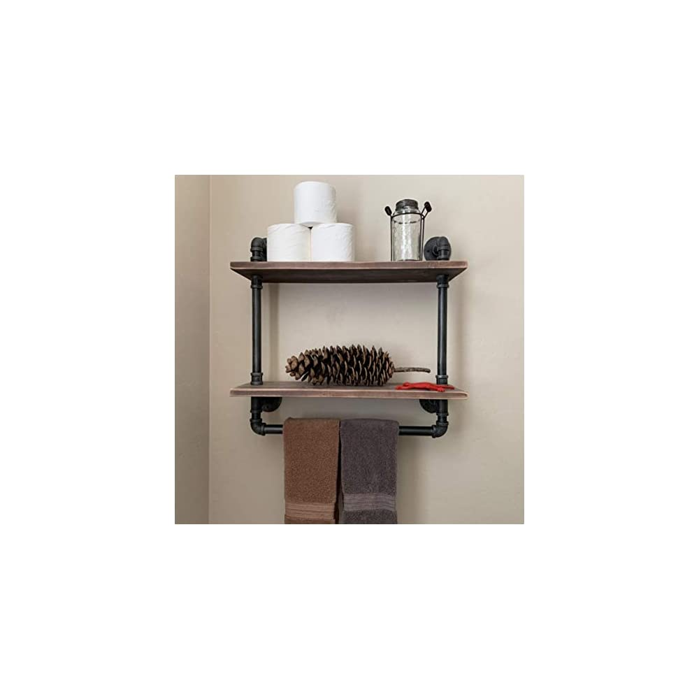 Ethemiable Industrial Vintage Pipe Bathroom Shelves,24in Wood Shelf with Towel Bar,Wall Mounted 2 Tier Storage Towel…