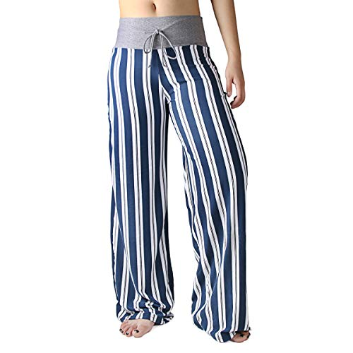 Micro Stripe Pants - HIGHDAYS Pajama Pants for Women Floral Print Palazzo Pants Comfy Casual Lounge Pants with Wide Leg & Drawstring (XL, Navy Stripes)