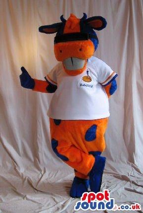 Orange And Blue Cow Plush SPOTSOUND US Mascot Costume Wearing A T-Shirt With Logo (Plush Cow Mascot Costume)