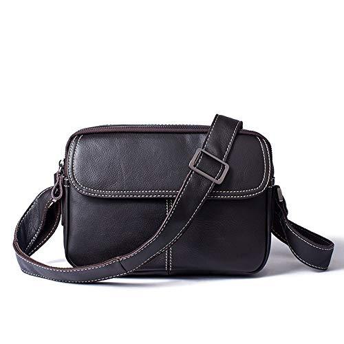 SKKMALL Herren echtes Leder Freizeit Volltonfarbe Schulter Schulter Schulter Messenger Bag Querschnitt Tasche (Farbe   Coffee) B07Q9PNWV6 Schultertaschen 4fede1