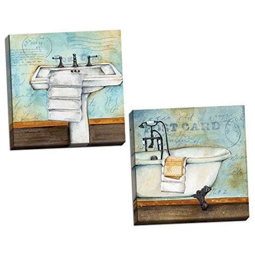 Gango Home Décor Relaxing Teal-Blue and Brown Clawfoot Bathtub and Pedestal Sink Set; Two 12x12in Hand-Stretched Canvases