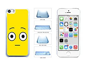 Bright Yellow Shocked Smiley Face Clear Plastic Phone Case Back Cover Apple iPhone 5c