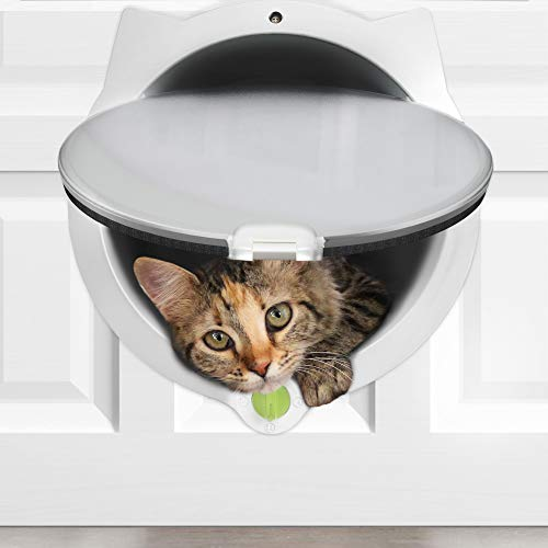 LYNX Cat Door for Pets - 4 Way Locking Cat Flap - for Interior Doors & Exterior Doors, Wall or Hidden Cat Litter Box - Easy & Quick Installation - Kitty Training Tips Included (Off-White) from LYNX