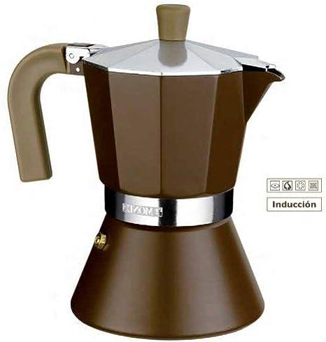 Monix M670006 Cafetera Italiana, 6 Tazas, incrementa la conectividad a Todo Tipo de Placas de inducción, Aluminio, Marrón: Amazon.es: Hogar